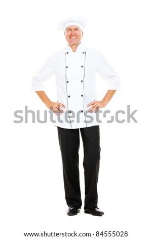 full- length portrait of happy senior cook. isolated on white background - stock photo