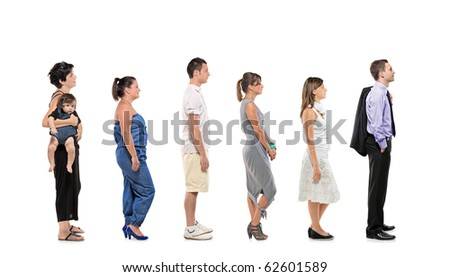 Full length portrait of men and women with baby standing together in a line isolated against white background - stock photo