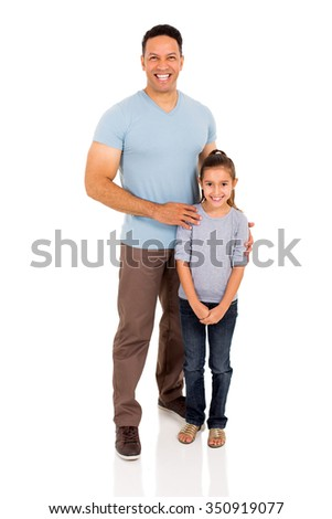 full length portrait of middle aged man and daughter - stock photo