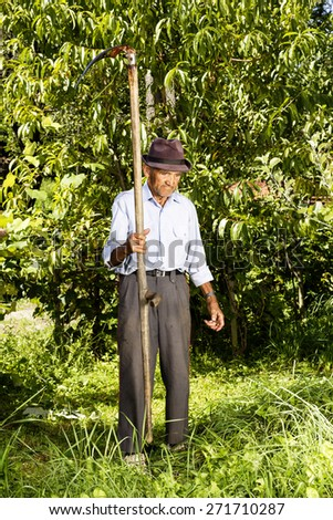 Full length portrait of old farmer using scythe to mow the grass traditionally - stock photo