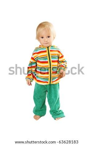 Full length portrait of pretty smiling baby boy on white background - stock photo