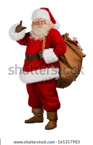 Full length portrait of Real Santa Claus carrying big bag full of gifts, isolated on white background - stock photo