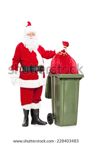 Full length portrait of Santa Claus throwing away his bag of presents isolated on white background - stock photo