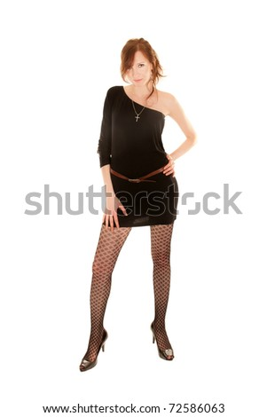Full length portrait of sexy young woman with long legs and black dress, isolated on white - stock photo