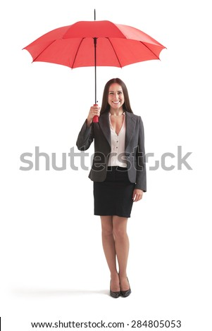 full-length portrait of smiley businesswoman under red umbrella. isolated on white background - stock photo