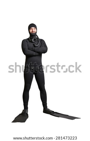 full length portrait of smiley underwater diver in equipment. isolated on white background - stock photo