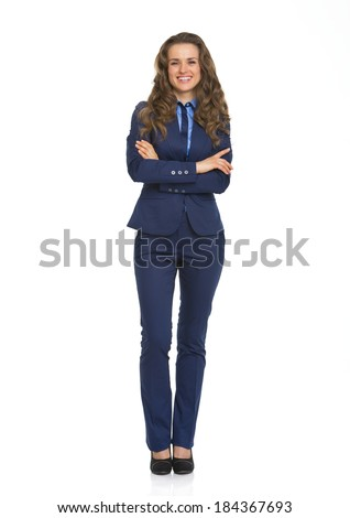 Full length portrait of smiling business woman - stock photo