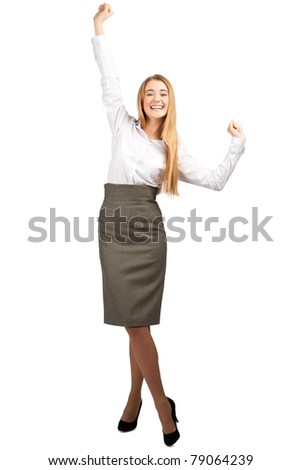 Full length portrait of successful young business woman raising her arms in joy and smiling. Isolated on white background - stock photo