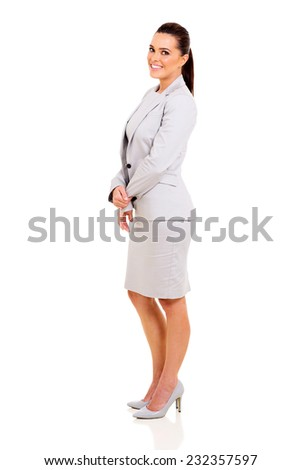full length portrait of successful young businesswoman on white background - stock photo