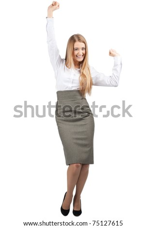 Full length portrait of successful young businesswoman raising her arms in joy and smiling. Isolated on white background - stock photo