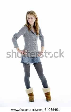 Full Length Portrait Of Teenage Girl - stock photo