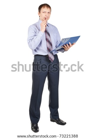 Full length portrait of thinking businessman with blue folder, isolated on white - stock photo