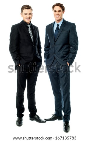 Full length portrait of two businessmen - stock photo