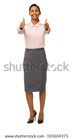 Full length portrait of young businesswoman gesturing thumbs up isolated over white background. Vertical shot. - stock photo