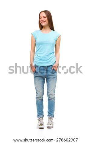 Full length portrait of young girl in casual clothing isolated on white. - stock photo