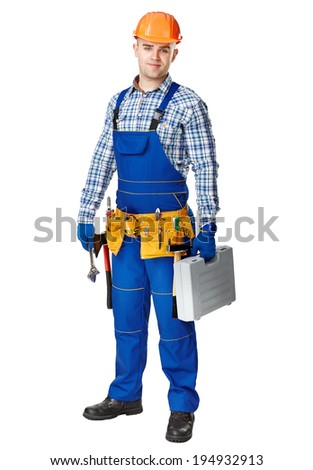 Full length portrait of young male construction worker wearing tool belt with toolbox isolated on white background - stock photo