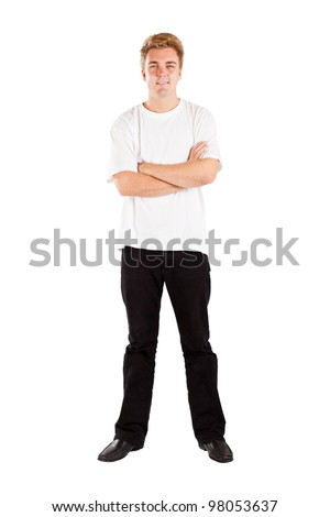 full length portrait of young man isolated on white background - stock photo