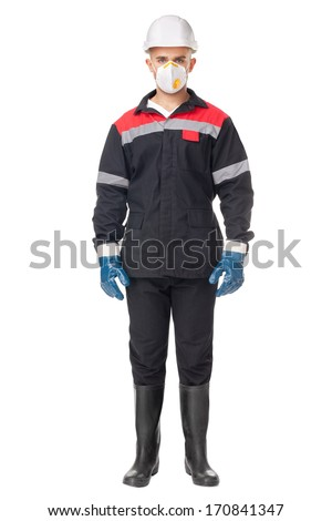 Full length portrait of young worker wearing safety protective gear isolated on white background - stock photo