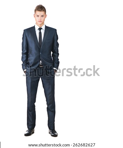Full length portrait on young handsome man. Elegant businessman in suit isolated on a white background - stock photo