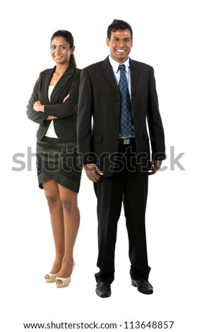Full length Portrait Portrait of a happy Indian business man & woman. Isolated on a white background. - stock photo