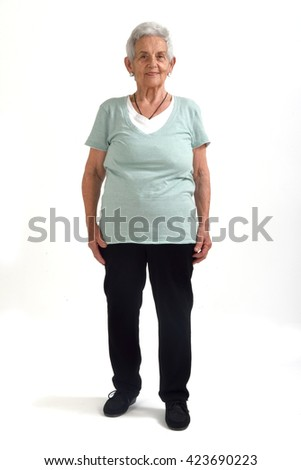 full-length portrait senior woman - stock photo
