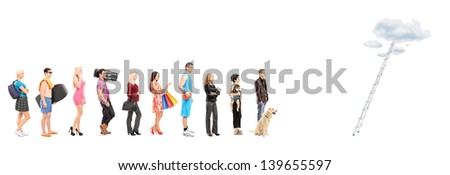 Full length portraits of people in a queue waiting to climb a ladder with clouds, isolated on white background - stock photo