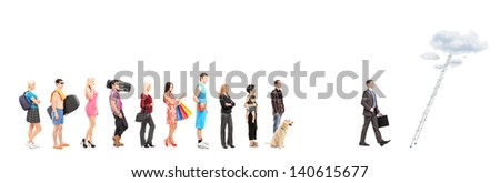 Full length portraits of  people waiting in a line and a businessman walking towards a ladder with clouds, isolated on white background - stock photo