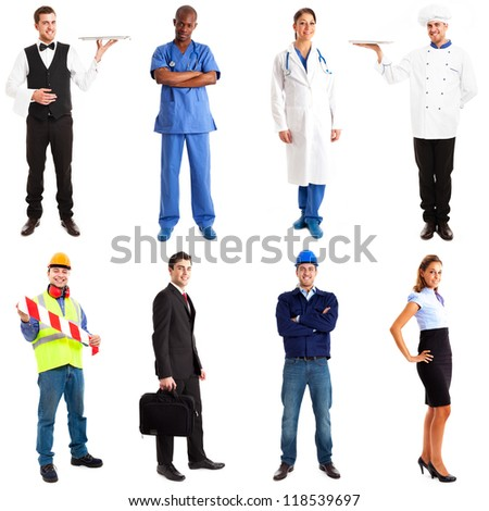 Full length portraits of workers - stock photo