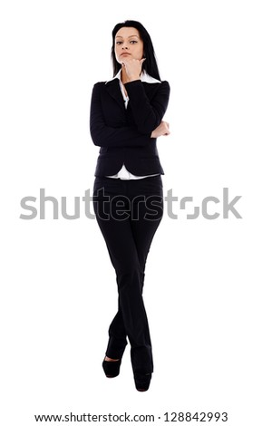 Full length pose of pensive businesswoman, looking at camera, isolated on white background - stock photo