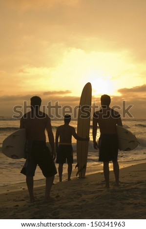 Full length rear view of male friends with surfboard watching sunset at beach - stock photo