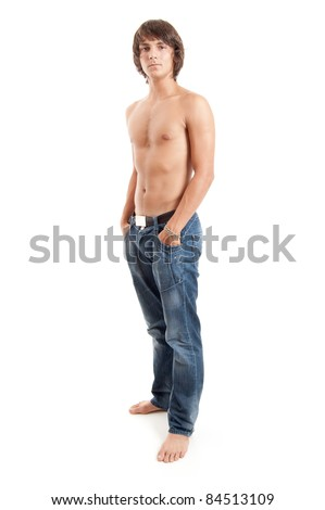 full length shot of a attractive young man without t-shirt isolated on white - stock photo