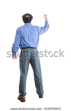 Full Length Shot of an Angry Businessman Raising Fist While Facing Backward, Isolated on a White Background. - stock photo