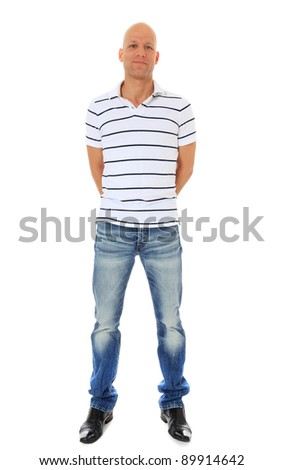 Full length shot of an attractive middle age man. All on white background. - stock photo