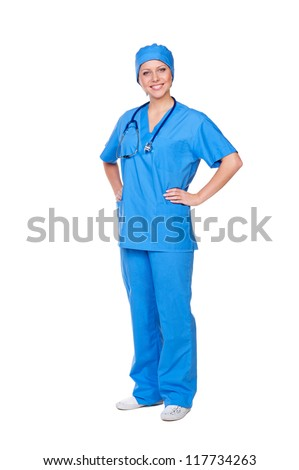 full length shot of smiley nurse in blue uniform. isolated on white background - stock photo