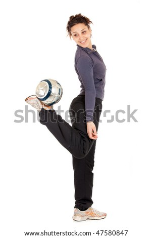 full length soccer woman playing with ball isolated on white - stock photo