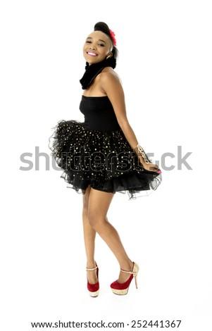 Full-length Studio Photo of Beautiful African Female Model in Modern Black Dress, on White Background - stock photo