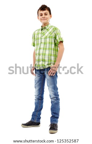 Full length studio portrait of a teen boy in green plaid shirt - stock photo
