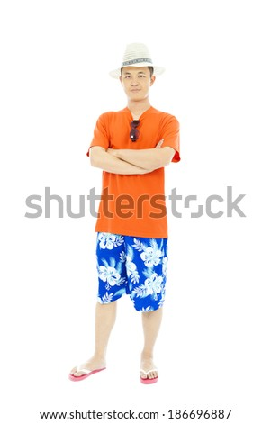 full length sunny man standing and across hands - stock photo