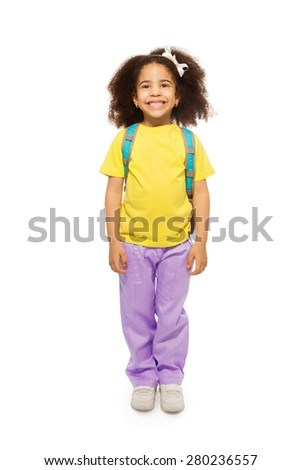 Full length view of positive African girl - stock photo