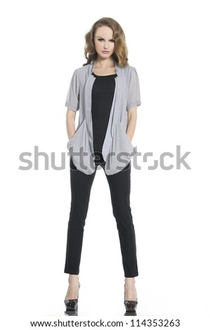 Full length young fashion posing - stock photo