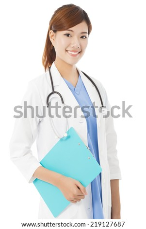 full length young smiling professional Doctor with document over white background - stock photo