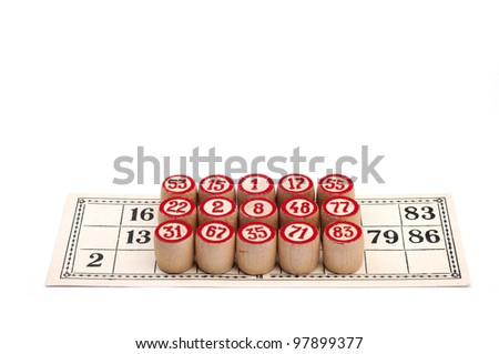 Full lotto card - victory isolated on white background and loupe - stock photo