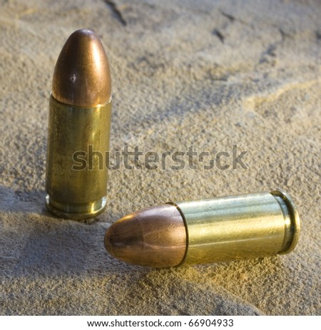 full metal jacketed bullets for a 9 mm - stock photo