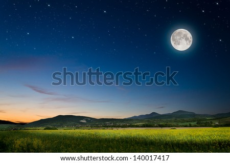 full moon and rape board - stock photo