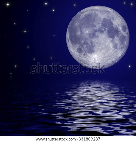 Full moon and stars reflected in the water surface - stock photo