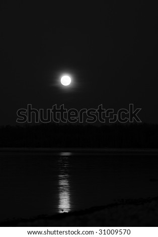 Full moon and the reflection - stock photo