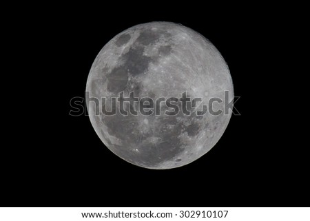 Full moon as seen from South Africa on 31 August 2015 making it a blue moon - stock photo