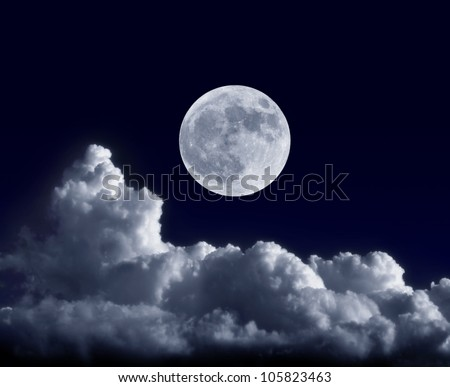 Full moon at its perigee during the supermoon of May 5, 2012 - stock photo