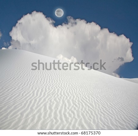 Full moon at White Sands New Mexico - stock photo