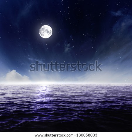 Full moon in night sky over moonlit water - stock photo